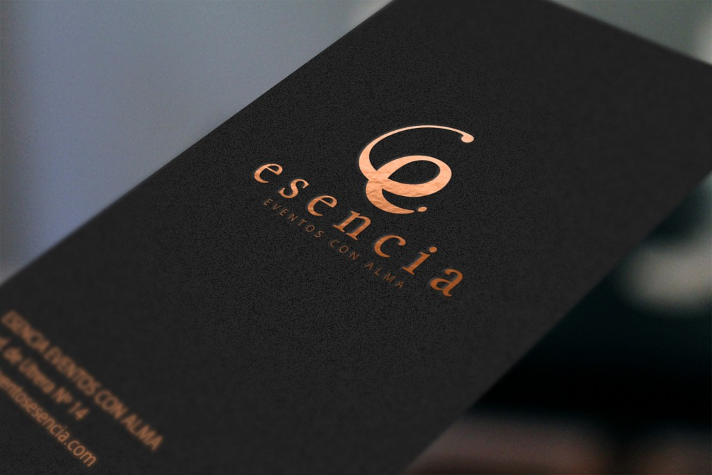 Previa logo esencia dorado sobre tarjeta NEGRA web cohete 2016